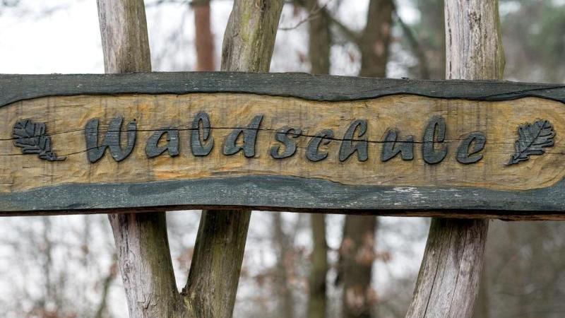 Ein Schild der Waldschule in Müllrose (Brandenburg). Foto: Patrick Pleul/dpa-Zentralbild/dpa/Archivbild