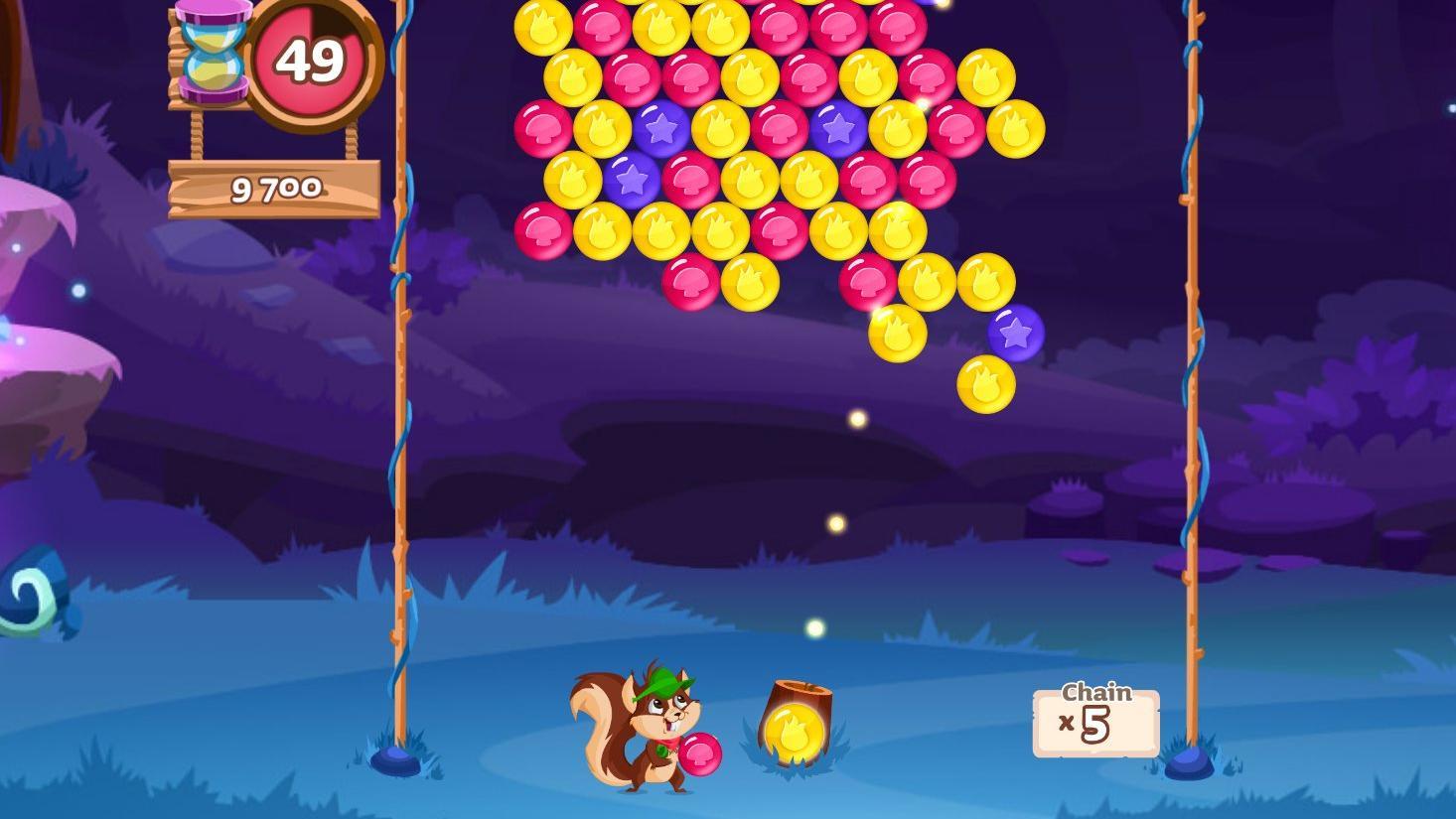 """Bei """"Bubble Woods"""" geht es darum, möglichst viele Blasen zum Platzen zu bringen"""