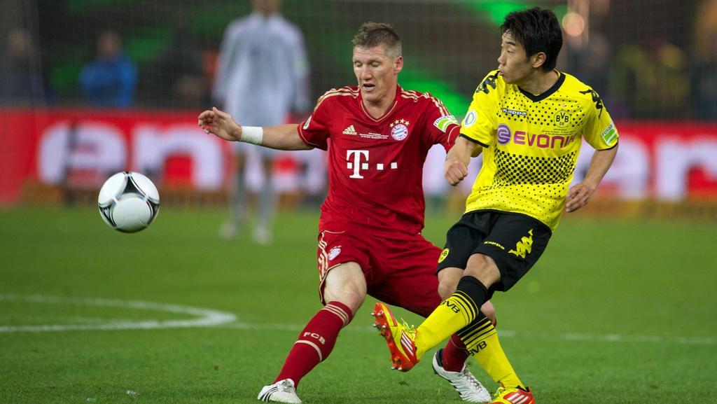 Bastian Schweinsteiger (FC Bayern) und Shinji Kagawa (Borussia Dortmund)