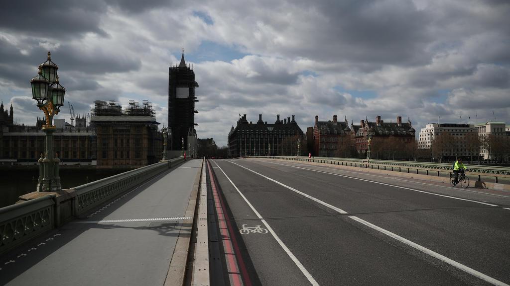 Menschenleere Straßen im Zentrum von London