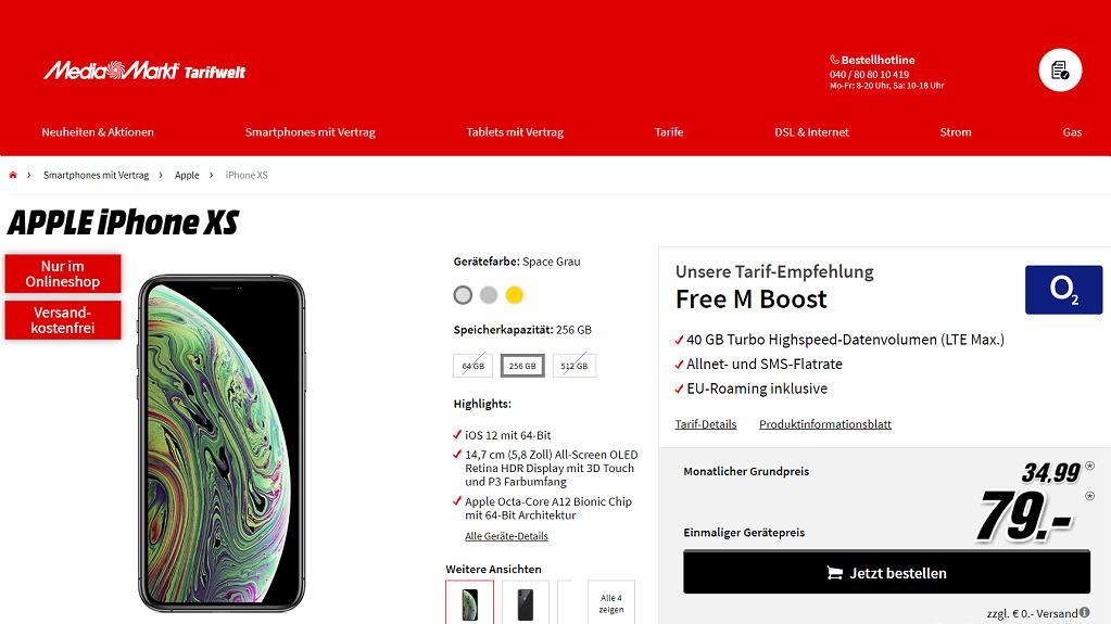 Tarif-Bundle: iPhone XS + Tarif