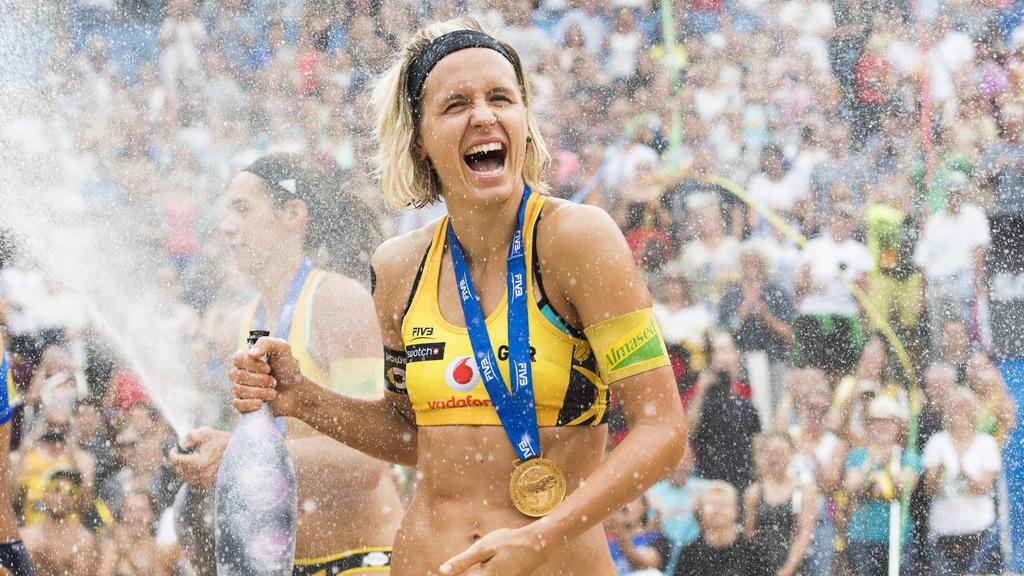 HAMBURG, GERMANY - AUGUST 26: Laura Ludwig of Germany celebrates after winning the gold medal match during Day 4 of the Swatch Beach volleyball Beachvolleyball FIVB World Tour Finals Hamburg 2017 on August 26, 2017 in Hamburg, Germany. (Photo by Malt
