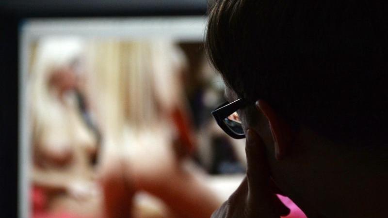 Ein Mann schaut sich auf einem Computer einen Porno an. Foto: Marcus Brandt/dpa/Archivbild/Illustration