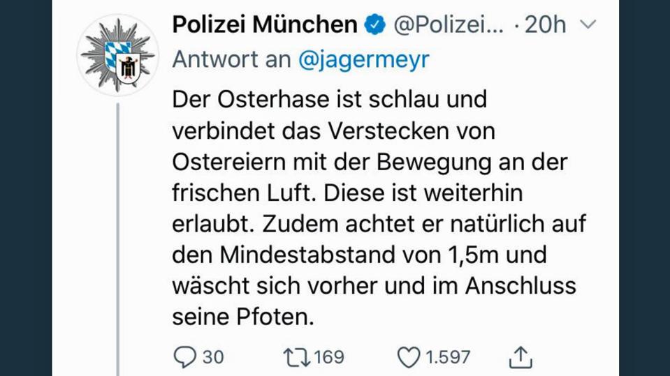 Tweet der Münchner Polizei.