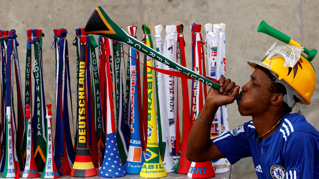 FILE PHOTO: ON THIS DAY -- March 26  March 26, 2010     SOCCER - South African street vendor, Mpho Qhalane, blows a Vuvuzela outside the FNB Stadium during a game between Johannesburg Soccer Legend and City of Johannesburg municipal workers ahead of