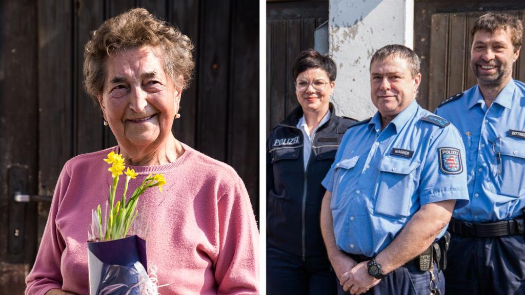 Seniorin und Polizei