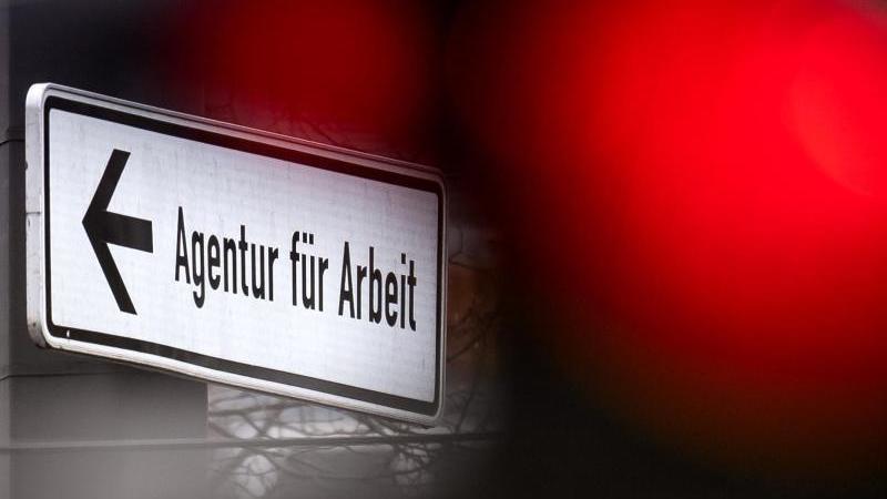 Ein Hinweisschild für die Arbeitsagentur neben einer roten Ampel. Foto: Sina Schuldt/dpa/Symbolbild