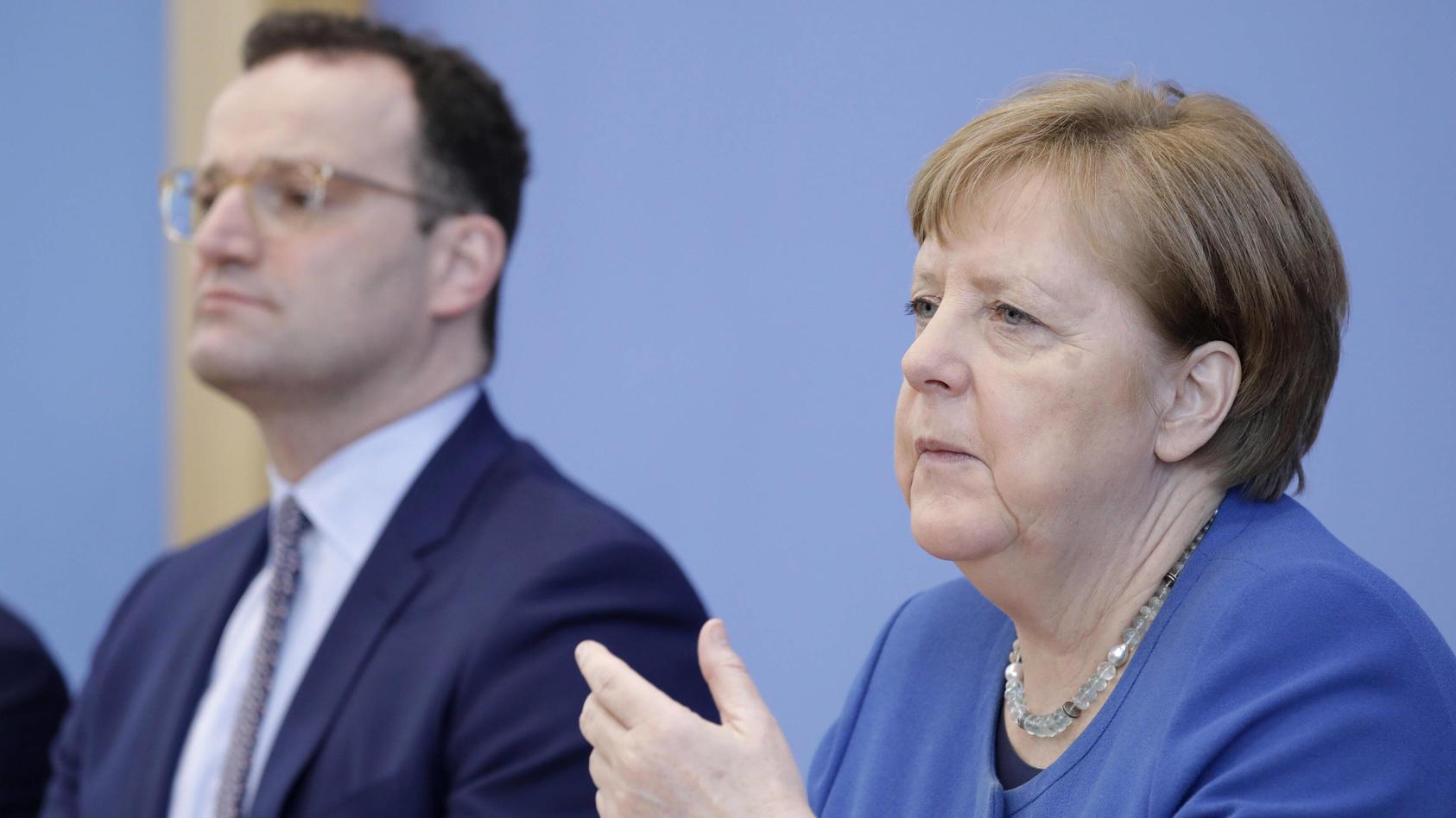 Jens Spahn, Bundesminister für Gesundheit und Angela Merkel nannten falsche Infektionszahlen.