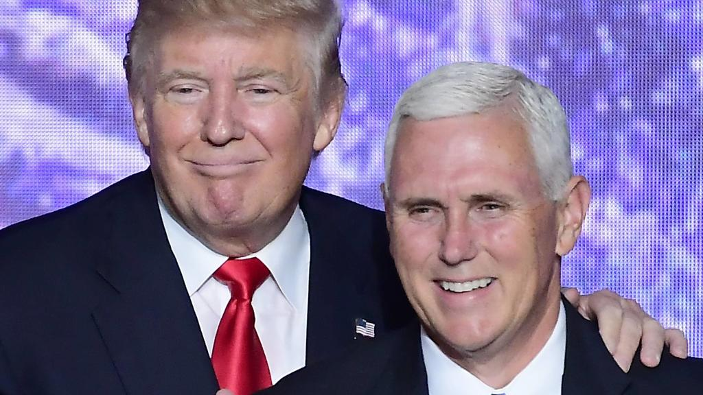 July 21, 2016 - Cleveland, Ohio, United States of America - Donald J. Trump and Governor Mike Pence Republican of Indiana after Trump delivered his acceptance speech as the GOP candidate for President of the United States at the 2016 Republican Nati