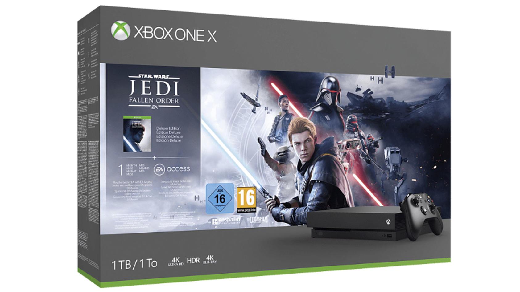 Die Xbox One X gibt es im Bundle mit Star Wars Jedi – Fallen Order für 279 Euro bei Saturn.