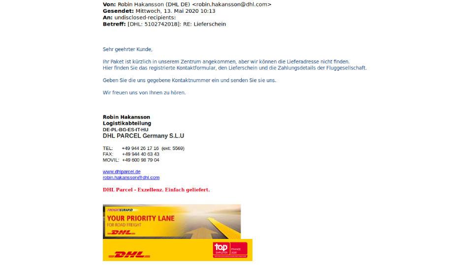 Das Beispiel der Polizei Niedersachsen für eine Phishing-Mail im Namen von DHL