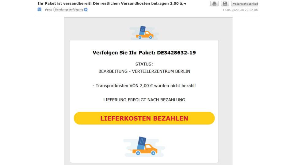 In dieser Phishing-Mail fordert DHL angeblich Transportkosten an