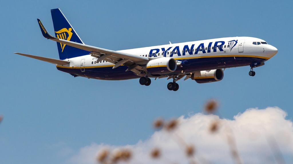 July 15, 2019 - Athina, Attica, Greece - Ryanair Boeing 737-800 aircraft landing at Athens International Airport AIA Eleftherios Venizelos ATH LGAV during a summer blue sky day. The airplane has 2 CFM56-7 jet engines and the registration EI-EBS. Rya
