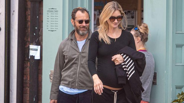 Jude Law mit seiner schwangeren Frau Phillipa Coan