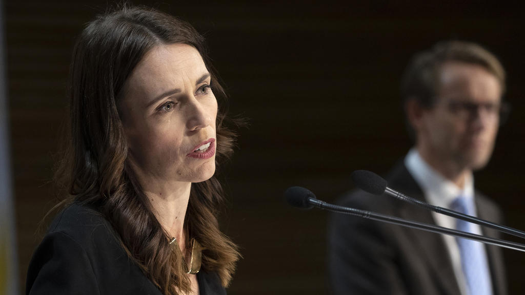 Prime Minister Jacinda Ardern during the post-Cabinet press conference with Director General of Health Dr Ashley Bloomfield in Wellington, New Zealand, Monday May 11, 2020. Ardern on Monday announced a plan to re-open the economy and the nation's s
