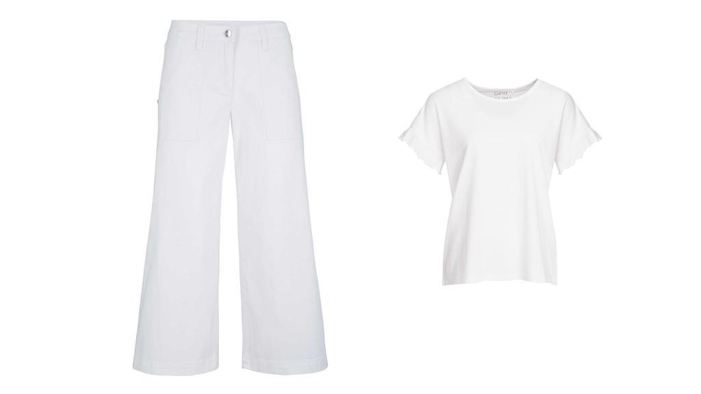 Culotte von bpc, T-Shirt von Gina.
