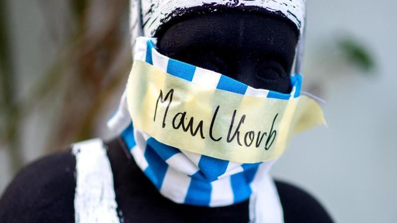 Eine Aluhut tragende Figur in Oldenburg. Foto: Hauke-Christian Dittrich/dpa/Archivbild
