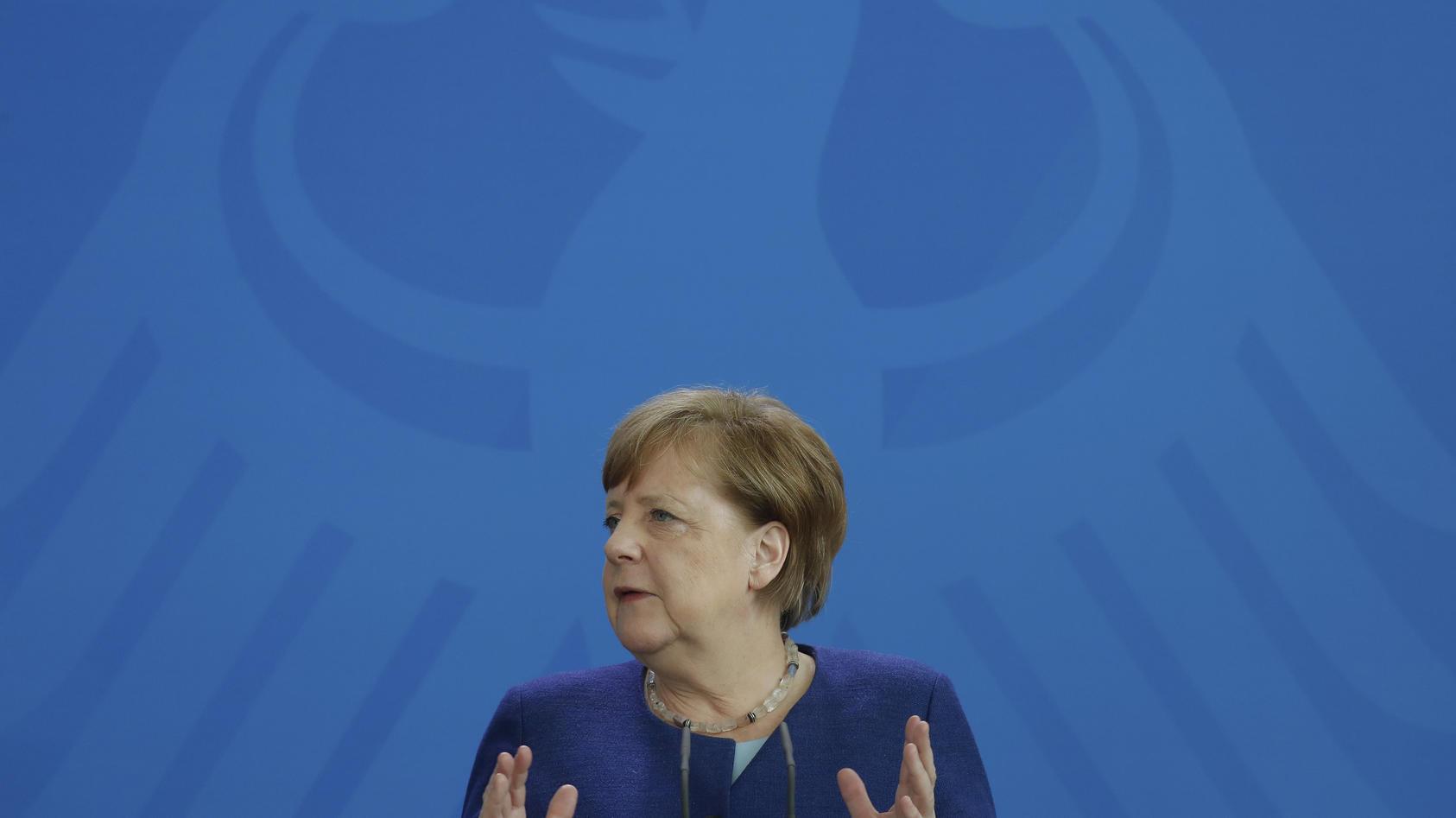 Bundeskanzlerin Angela Merkel spricht während einer Pressekonferenz nach einer Videokonferenz mit den Vorsitzenden internationaler Wirtschafts- und Finanzorganisationen.