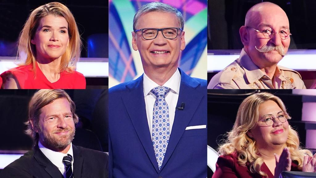 """""""Wer wird Millionär?""""-Moderator Günther Jauch mit seinen prominenten Kandidaten Anke Engelke, Henning Baum, Horst Lichter und Ilka Bessin"""