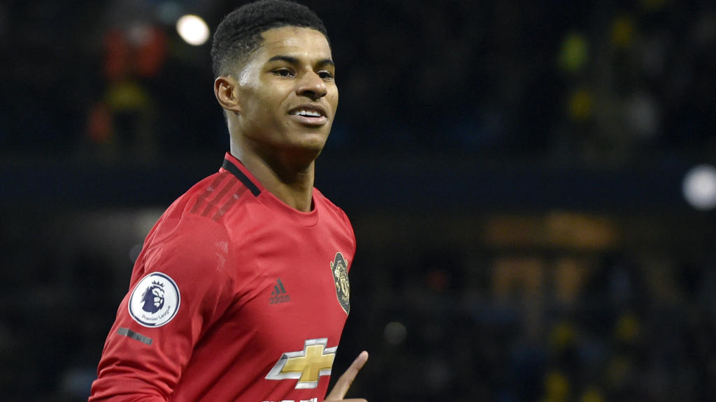 FILE - In this Saturday, Dec. 7, 2019 file photo, Manchester United's Marcus Rashford during their English Premier League soccer match against Manchester City at Etihad stadium in Manchester, England. Paul Pogba and Marcus Rashford are expected to be