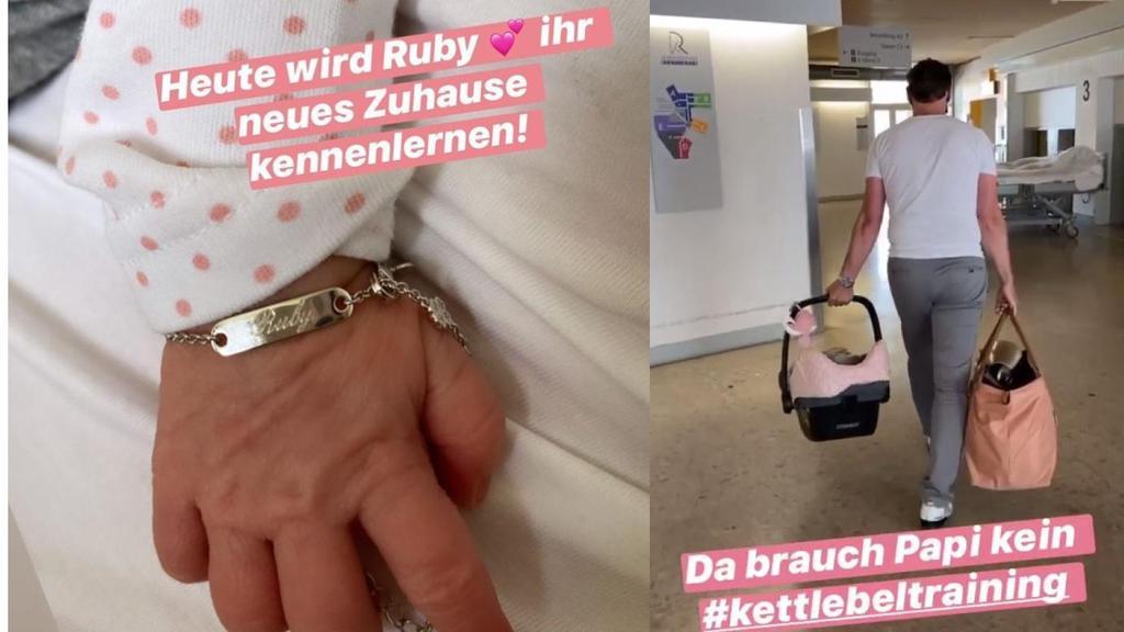 Auf Instagram berichtet Mocki, dass es für die frischgebackene Familie endlich nach Hause geht.
