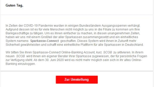 Phishing Mail Sparkasse-Connect