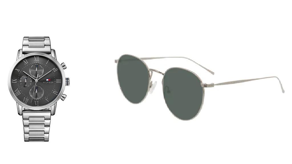 Sonnenbrille von Brille24, Uhr von Tommy Hilfiger.