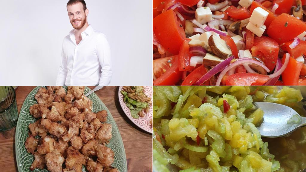 Patrick Müller präsentiert einen Tomaten-Champignon-Veganer-Feta-Salat /Blumenkohl Wings und einen Ananas-Sellerie Salat.