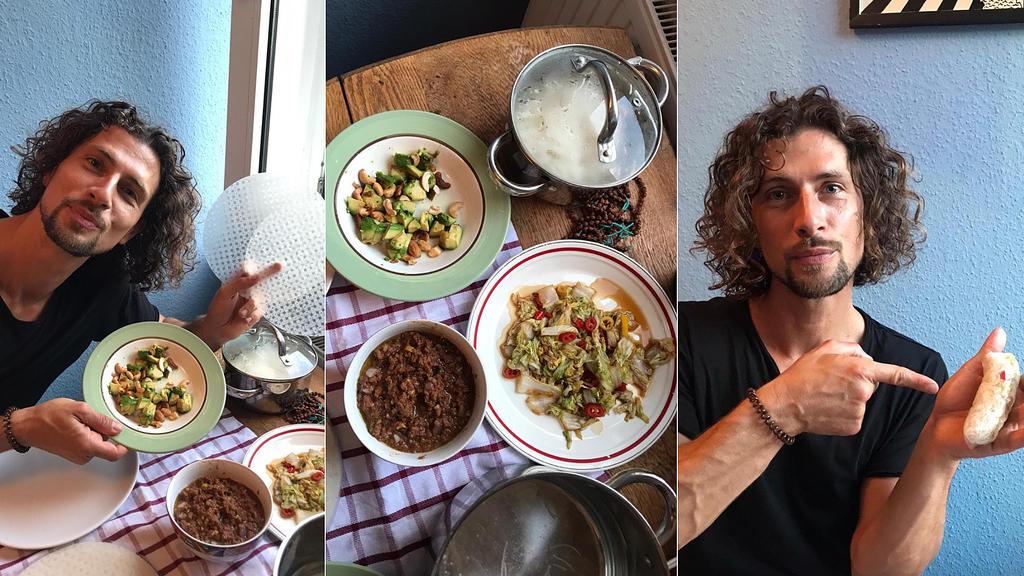 Jakob Graf präsentiert: Chinakohl mit Chili, Avocado mit Cashew und Sojahack -  alles Inhalt für eine  eigene Version von Sommerrollen.