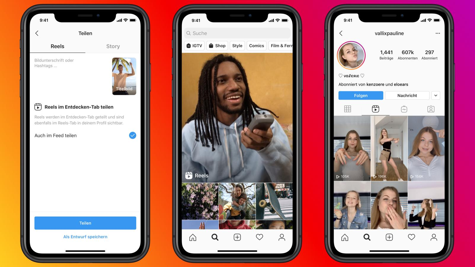 """Instagram testet die neue Videofunktion """"Reels""""."""