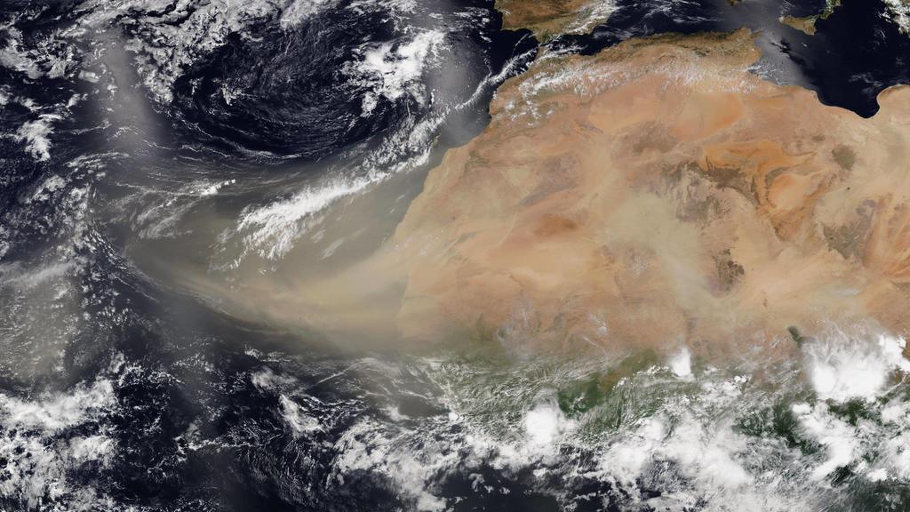 Sahara-Staub zieht über Atlantik June 26, 2020, Atlantic Ocean: NASA- s Suomi NPP satellite captured this visible image of the large light brown plume of Saharan dust over the North Atlantic Ocean. Experts have nicknamed the plume the Godzilla dust c