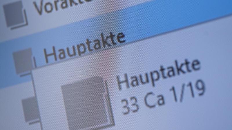 Eine Akte wird elektronisch auf einem Bildschirm angezeigt. Foto: Sebastian Gollnow/dpa/Symbolbild