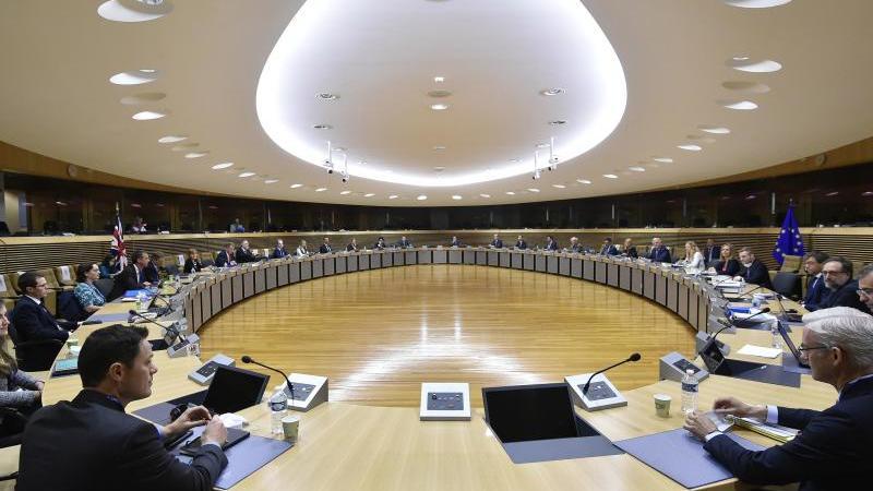 Verhandlungsrunde über die künftigen Handelsbeziehungen der EU und Großbritannien. Foto: John Thys/AFP Pool/AP/dpa