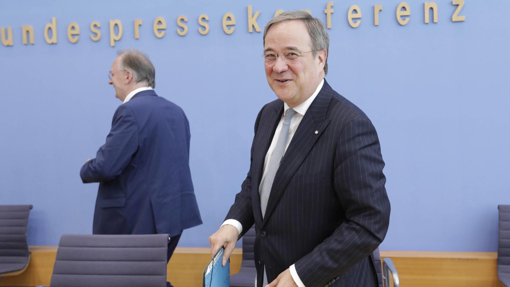Reiner Haseloff, Ministerpraesident des Landes Sachsen-Anhalt, CDU, Armin Laschet, Ministerpraesident des Landes Nordrh