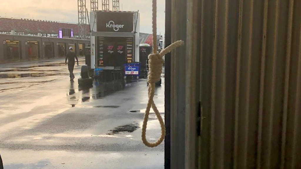 A noose found in the Number 43 garage stall, assigned to driver Bubba Wallace, at Talladega Superspeedway in Talladega, Alabama, U.S. June 21, 2020 is seen in a photograph released by NASCAR on June 25, 2020.   NASCAR/Handout via REUTERS.  NO RESALES