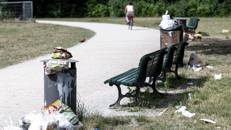 In einem Park stapelt sich neben Mülltonnen weiterer Abfall. Foto: Fabian Sommer/dpa/Archivbild