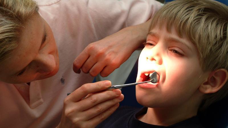 Eine Zahnärztin untersucht einen Jungen. Foto: Heiko Wolfraum/dpa
