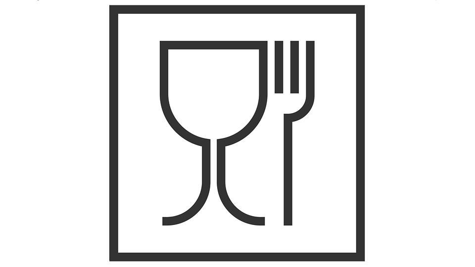Dieses EU-weit gültige Glas-Gabel-Symbol kennzeichnet Materialien, die für den Lebensmittelkontakt geeignet sind.