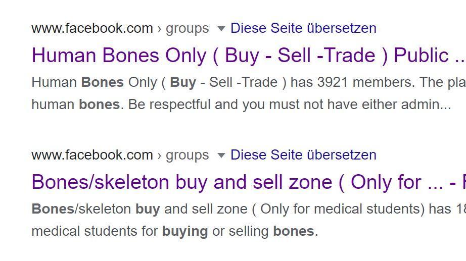 Sucht man im Netz nach Gruppen, in denen mit menschlichen Überresten gehandelt wird, wird man schnell fündig.