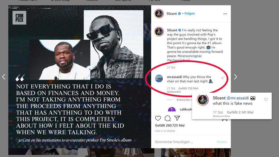 """50 Cent reagiert auf seiner Instagram-Seite auf den Kommentar eines Users der fragt, warum er den Stuhl nach dem Mann geworfen habe - der Rapper reagiert und schreibt, dass das """"Fake News"""" seien."""