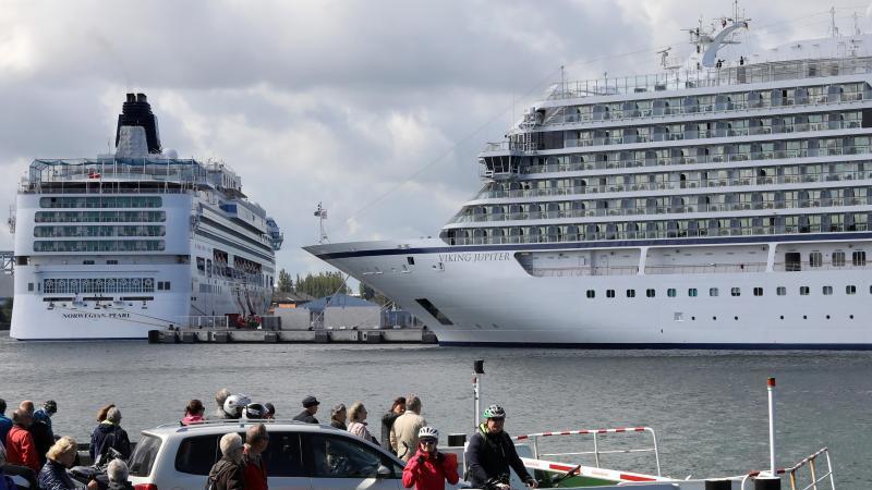 Kreuzfahrtschiffe am Passagierkai des Ostseebades Warnemünde (Archiv). Foto: Bernd Wüstneck/dpa