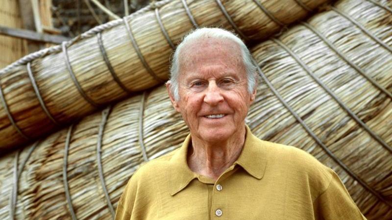 Der norwegische Abenteurer, Entdecker und Völkerkundler Thor Heyerdahl (1998). Foto: dpa