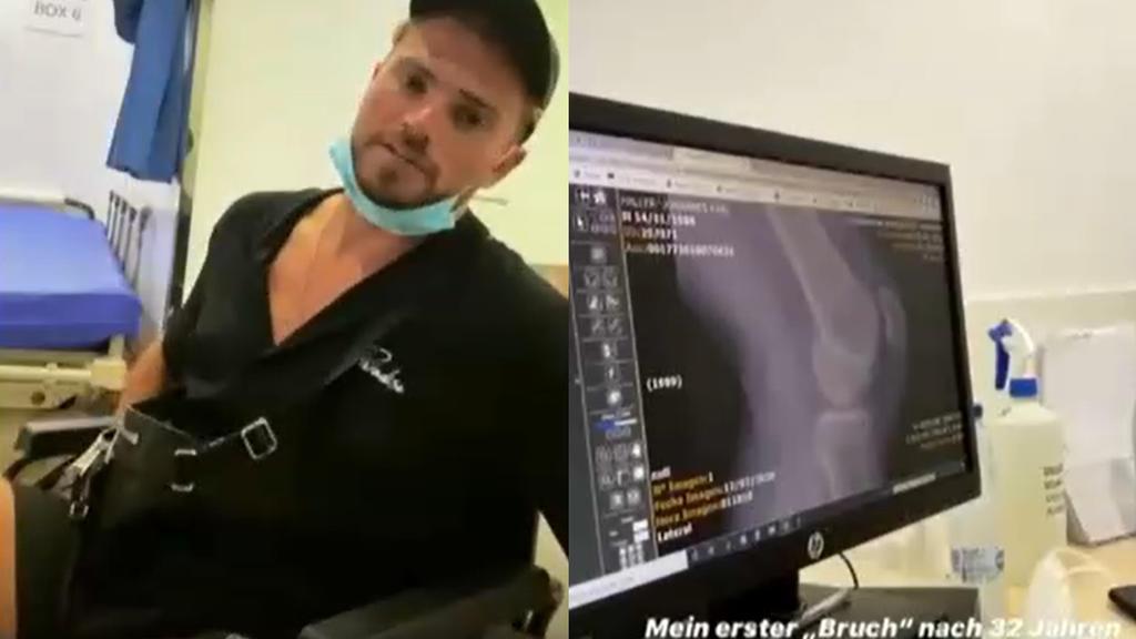 Johannes Haller im Rollstuhl (l.): Sein Knie (Röntgenbild, r.) macht ihm zu schaffen.