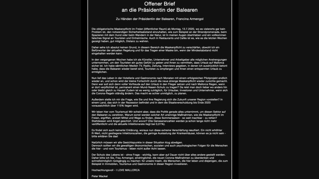 Der offene Brief von Peter Wackel an die Präsidentin der Balearen