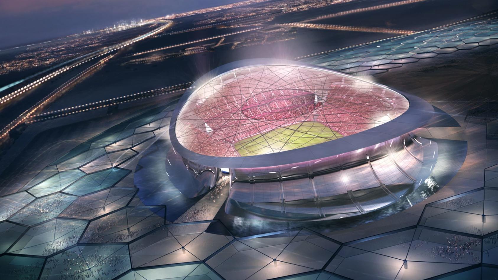 Computer-animiertes Bild des Finalstadions der WM 2022 in Lusail