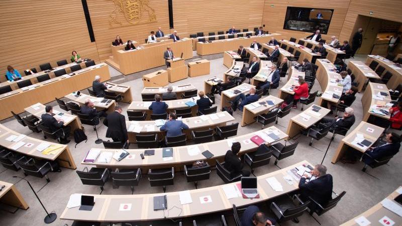 Abgeordnete sitzen im Landtag Baden-Württemberg auf ihren Plätzen. Foto: Tom Weller/dpa/Archivbild