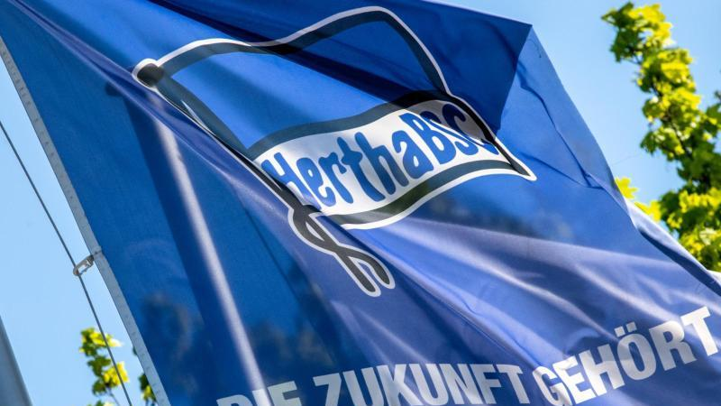 Eine Fahne mit dem Vereinslogo am Trainingsplatz von Hertha BSC. Foto: Andreas Gora/dpa/Archivbild