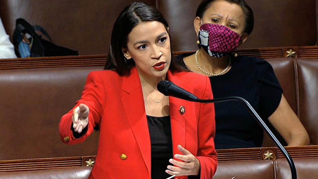 In this image from video, Rep. Alexandria Ocasio-Cortez, D-N.Y., speaks on the House floor, Thursday, July 23, 2020 on Capitol Hill in Washington.   Ocasio-Cortez's objections to a Republican lawmaker's verbal assault on her expanded Thursday as she