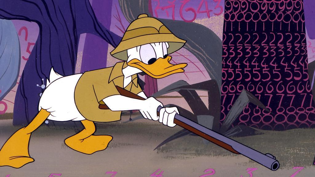 """Die berühmteste Ente der Welt, Donald Duck, wird im """"Wald der Zahlen"""" in die Mathematik eingeführt (undatierte Aufnahme). Die Comic-Ente, die am 9. Juni 1999 ihren 65. Geburtstag feiert, wurde 1934 in Walt Disneys Cartoon """"The Wise Little Hen"""" """"gebor"""