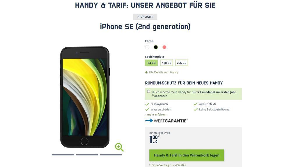 Apple iPhone SE für 1 Euro bei Mobilcom Debitel